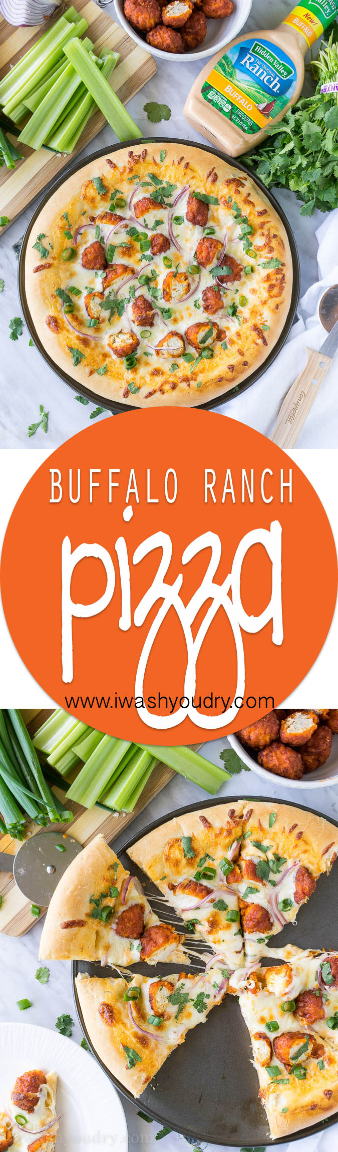 The combination of Buffalo Wings and Pizza in a creamy and cheesy Buffalo Ranch Chicken Pizza! So good with Hidden Valley's new Buffalo Ranch dressing!