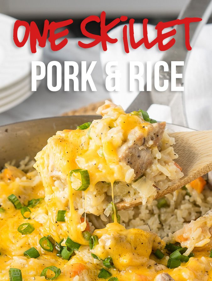 This Cheesy Pork and Rice Skillet is all made in just one pan for an easy and quick weeknight dinner!