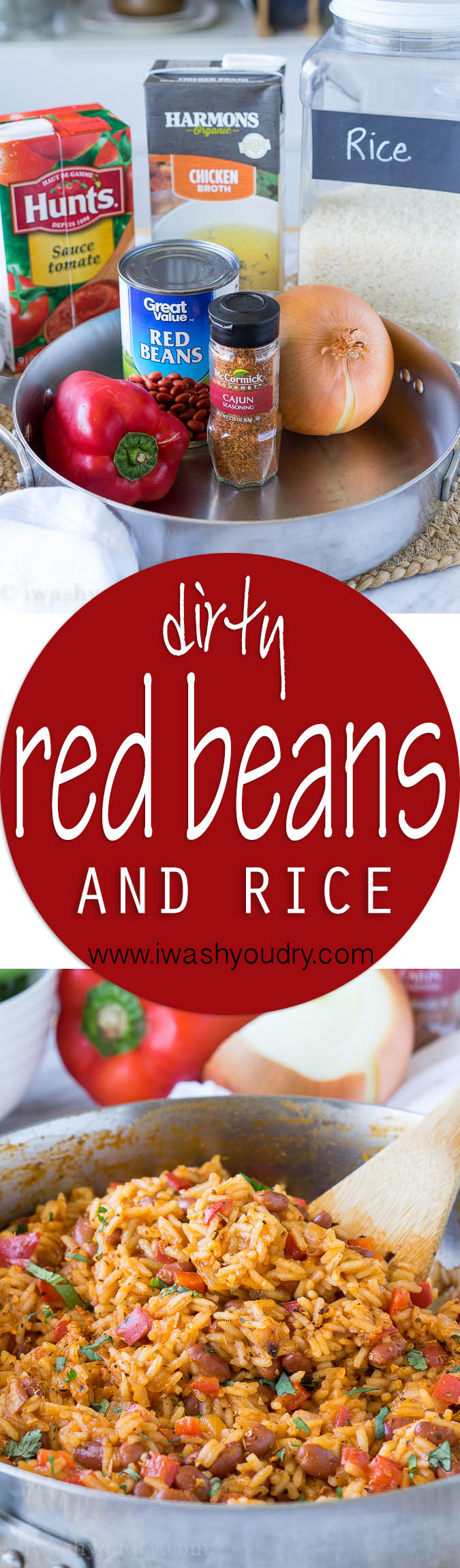 I'm in love with this one skillet Dirty Red Beans and Rice! It's a super quick side dish recipe, but can easily be turned into a main course by adding sliced andouille sausage!