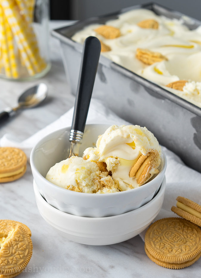 This No Churn Lemon Supreme Ice Cream is just 4 ingredients and so creamy and delicious! It tastes like a lemon creamsicle!