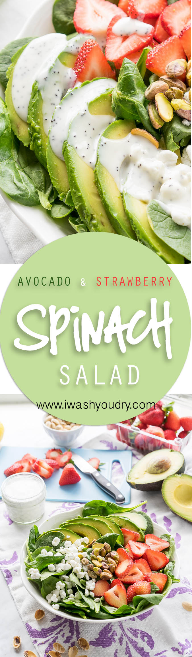 This Avocado Strawberry Spinach Salad is a quick and easy lunch recipe that's perfect for hot summer days!
