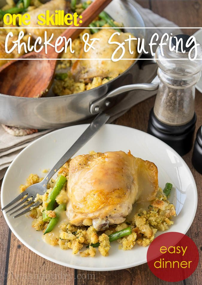 My family loves this Chicken and Stuffing Skillet! It's all made in one pan and it's a complete meal with veggies and a side of stuffing!