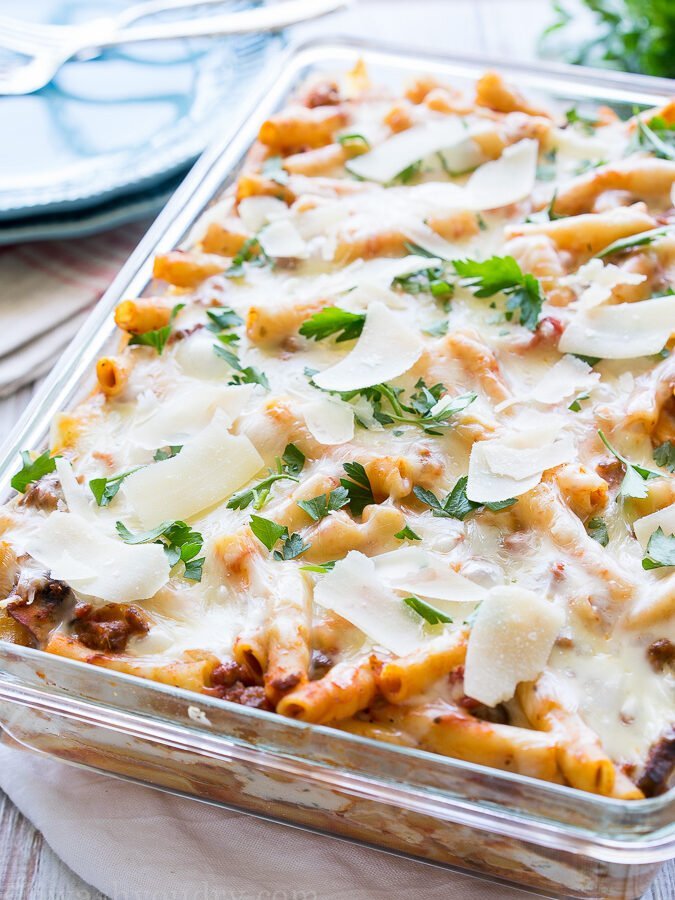 I love this Freezer Friendly Baked Ziti recipe! It's perfect for dinners in a pinch or for taking to others in need!