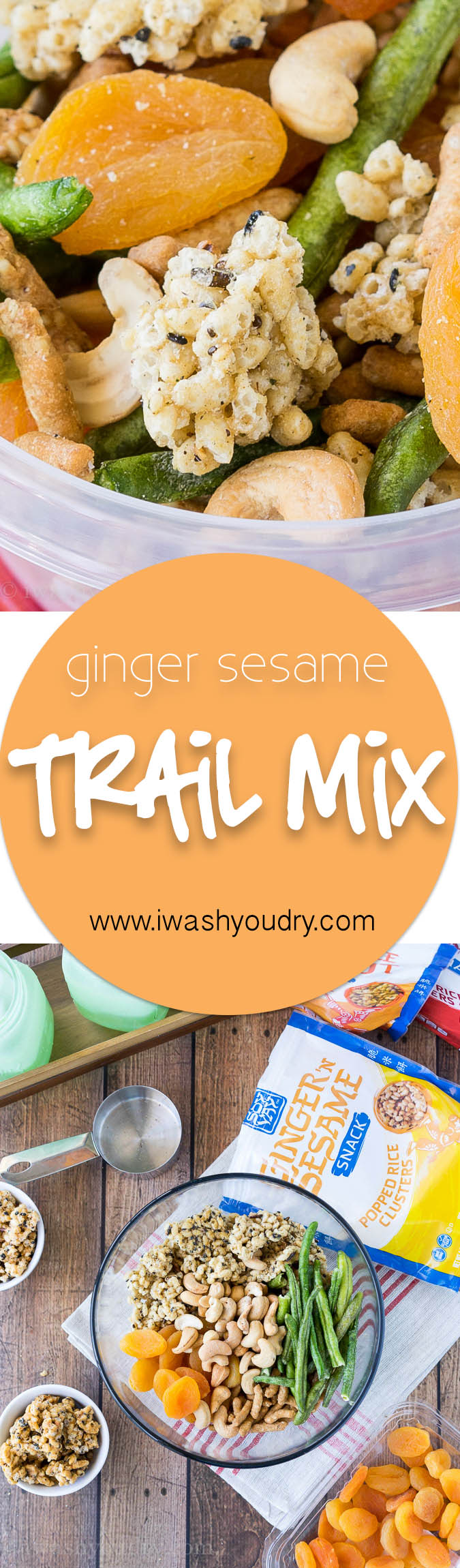 This asian-inspired Ginger Sesame Trail Mix is a fun combination of Soy Vay's newest snack - Popped Rice Clusters along with dried fruits and nuts. Perfect for snacking on the go!