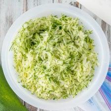 A bowl of shredded zucchini