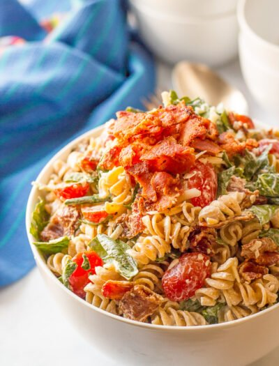 BLT pasta salad with an easy, creamy dressing - perfect for summer picnics, cookouts and parties!