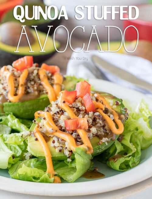I'm obsessed with this vegetarian Quinoa Stuffed Avocado recipe! Super quick and seriously tasty!