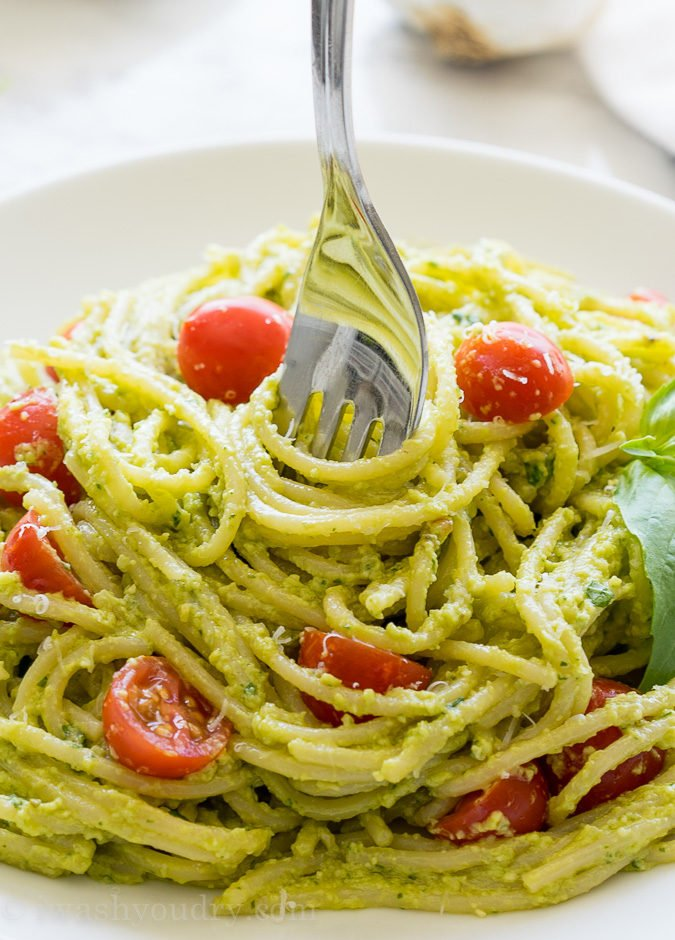This Avocado Pesto Pasta is a super creamy and fresh pasta dish that always receives rave reviews!