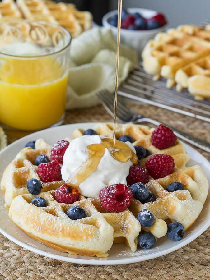 This Classic Waffle Recipe makes perfectly crisp on the outside, fluffy on the inside waffles that are to die for!