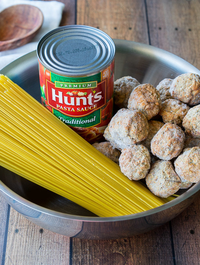 Everything gets cooked in one pan! My family loves this One Pot Spaghetti and Meatballs, I love how it's a super easy clean up!