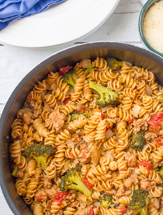 One Pot Pasta with Sausage and Broccoli