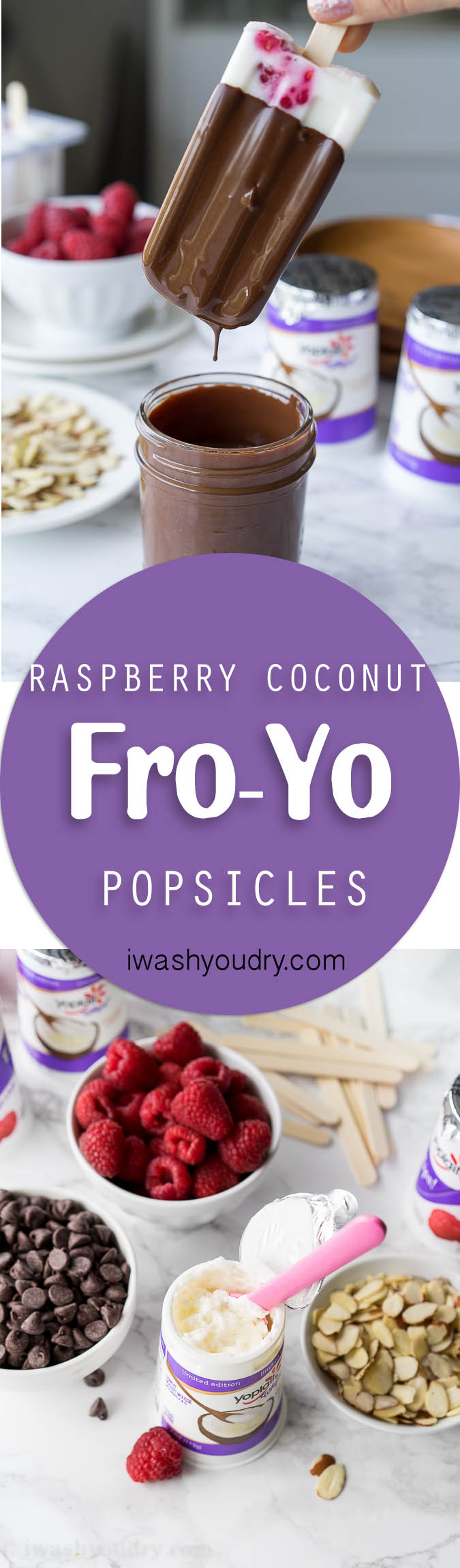 These Raspberry Coconut Fro-Yo Popsicles are just 4 ingredients (including the chocolate!). So fresh and creamy!