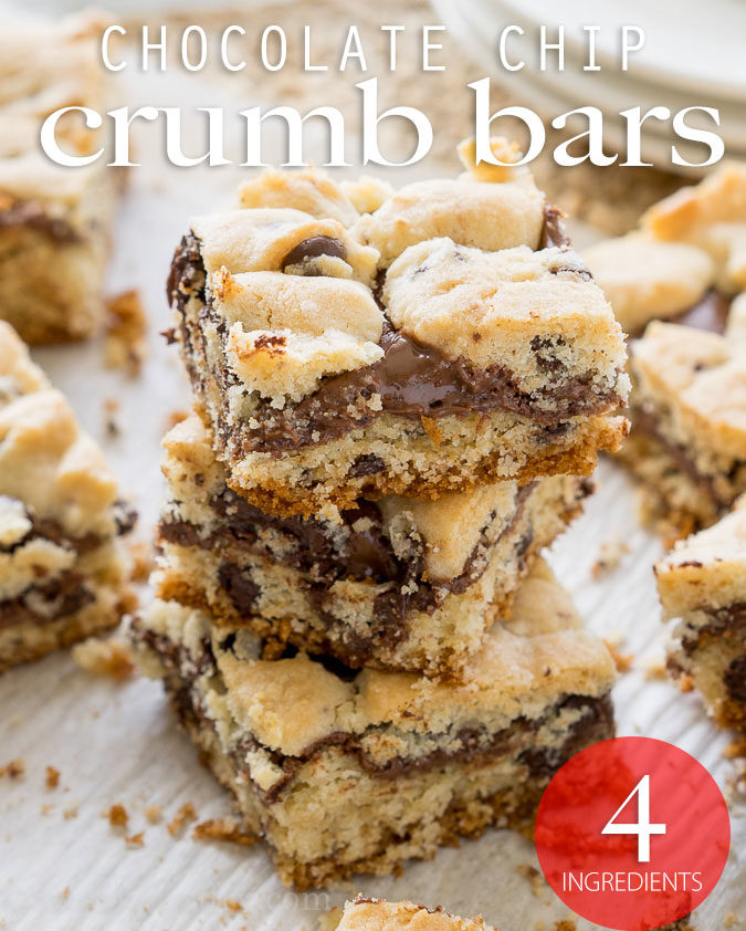 These Chocolate Chip Crumb Bars have a gooey chocolate hazelnut center and are made with just 4 simple ingredients, including muffin mix! So easy!