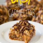 These Easy Salted Carmelitas are a super easy cookie bar recipe that's filled with caramel and only 7 ingredient!