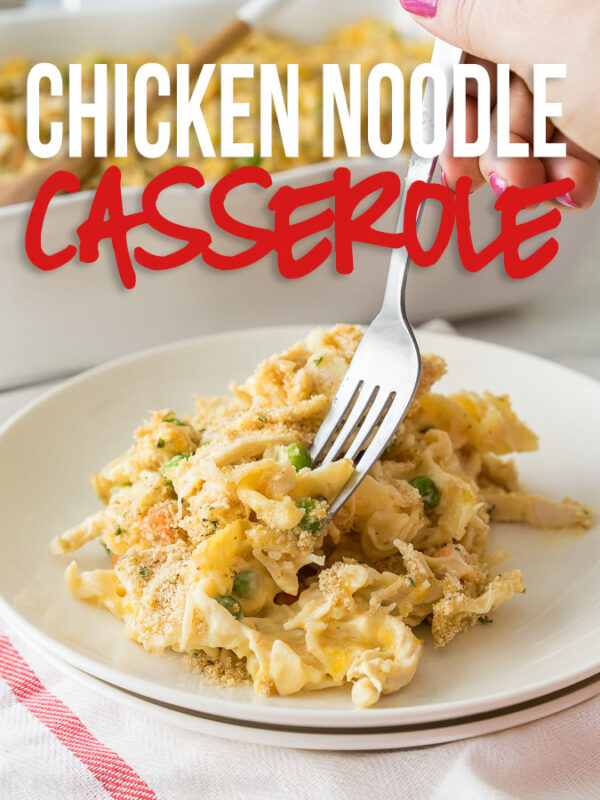 This Easy Chicken Noodle Casserole recipe is filled with the classic comforts of creamy chicken noodle soup, but in a delicious casserole form.