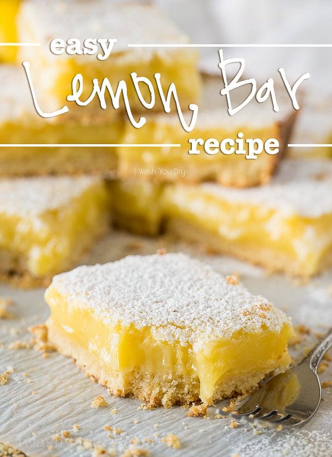 Easy Lemon Bars Recipe on paper with bite