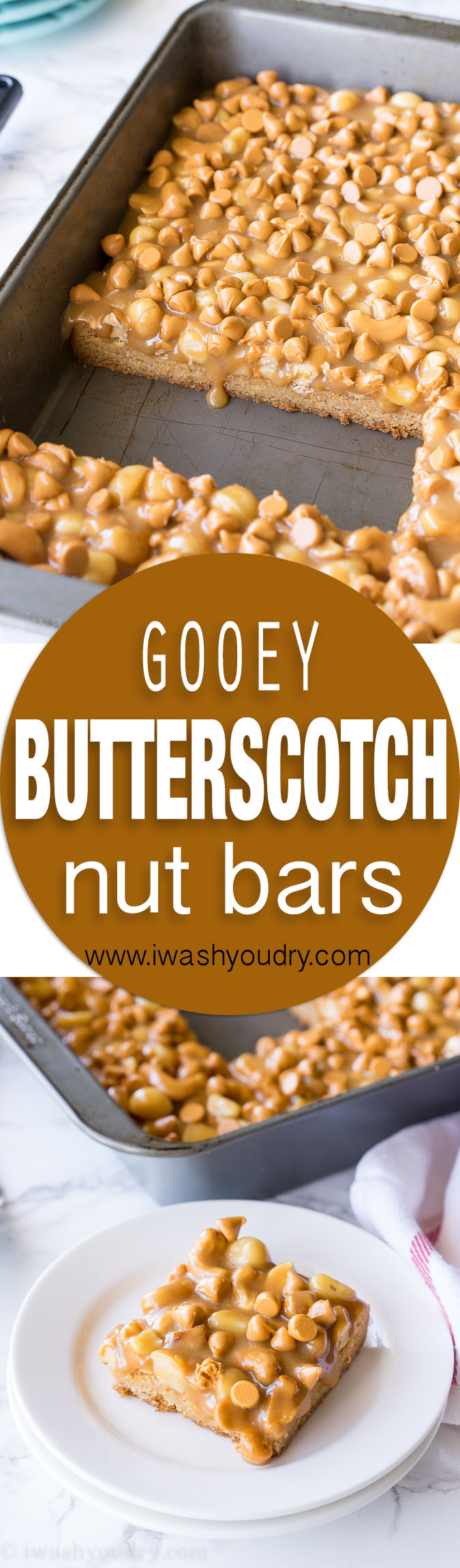 These Gooey Butterscotch Nut Bars are a super quick butterscotch cookie base topped with roasted nuts and gooey caramel. Everyone loves these cookie bars!