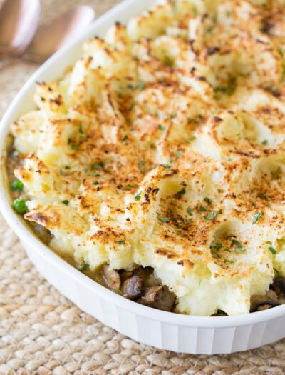 This comforting Turkey Mushroom Shepherd's Pie is a quick 30 minute dinner recipe that the whole family will love!
