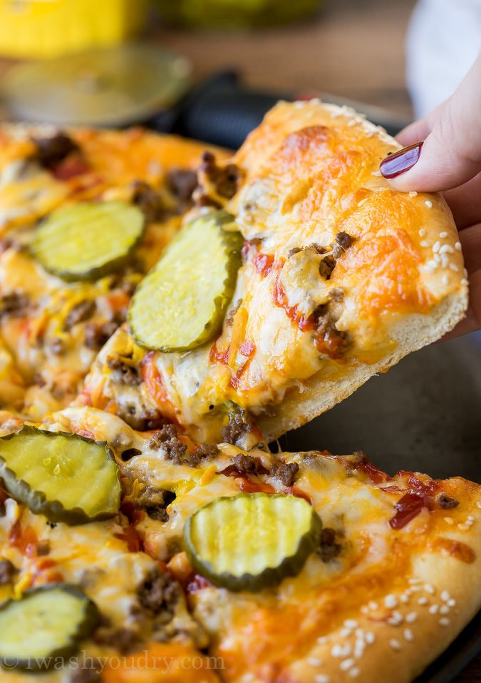 My whole family LOVED this Cheeseburger Pizza! We make it at least once a month now!
