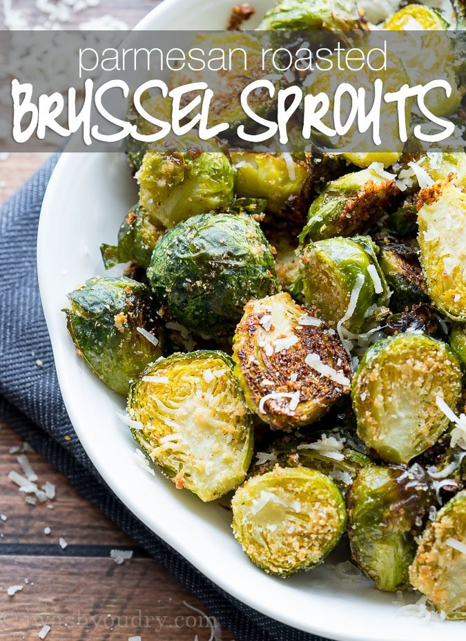 I'm obsessed with these Parmesan Roasted Brussels Sprouts! Such an easy side dish recipe to make and goes perfectly with everything! Even my kids love it!