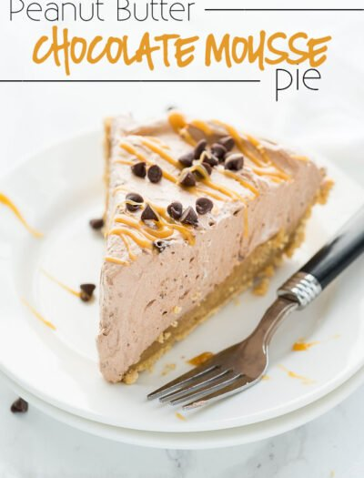 This Peanut Butter Chocolate Mousse Pie is a super simple dessert that comes together in minutes! We love the thick peanut butter ganache on the bottom combined with the light and fluffy chocolate mousse on top! Perfect combination.