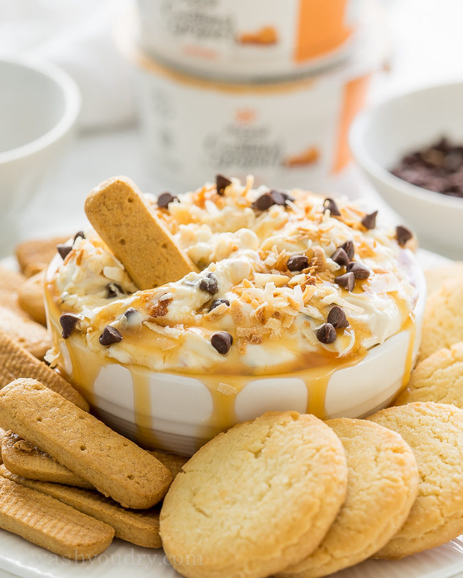 OH MY GOSH!! This Coconut Chocolate Caramel Cookie Dip is SO GOOD with graham cracker sticks! The Yoplait Custard yogurt in the dip really makes this recipe amazing!
