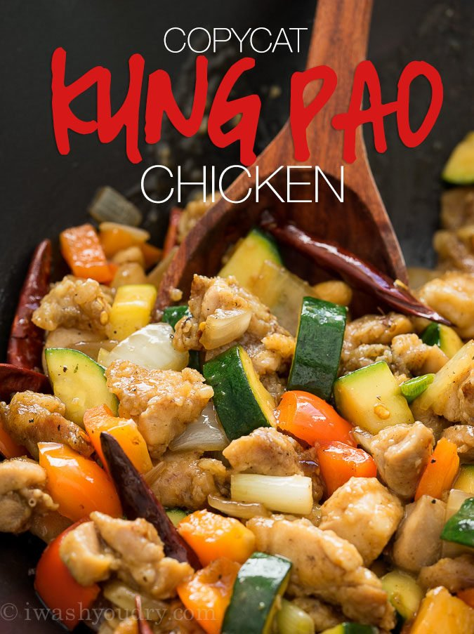 This Copycat Kung Pao Chicken recipe is just like the popular Chinese chain restaurant! So good and super quick to make at home!