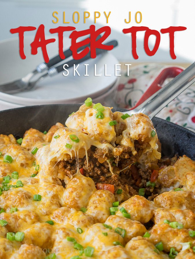 Comfort food and convenience come together in this super easy Sloppy Jo Tater Tot Skillet recipe! My whole family loved this one!