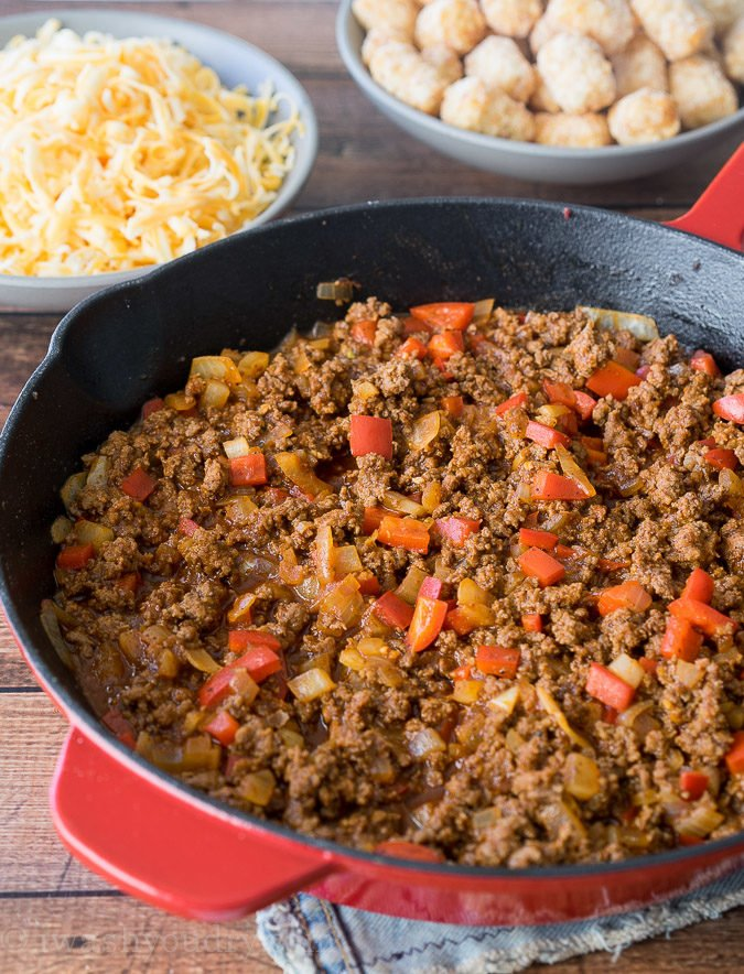 Comfort food and convenience come together in this super easy Sloppy Joe Tater Tot Skillet recipe! My whole family loved this one!
