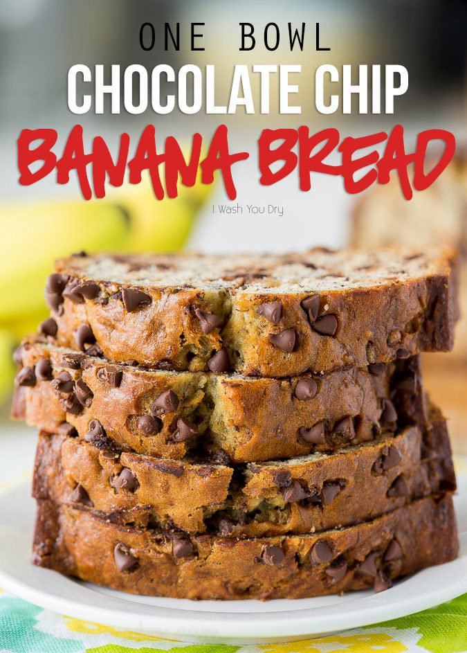 WOW! This One Bowl Chocolate Chip Banana Bread Recipe is so easy and seriously SO GOOD!