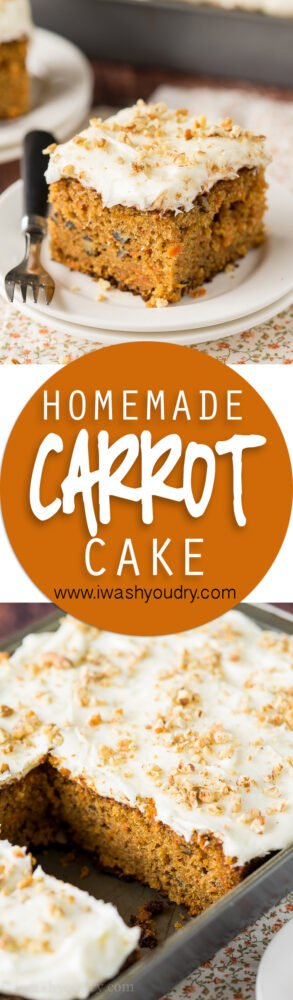 Classic Homemade Carrot Cake Recipe! Filled with shredded carrots and just the right amount of sweetness, plus a killer homemade cream cheese frosting recipe too!