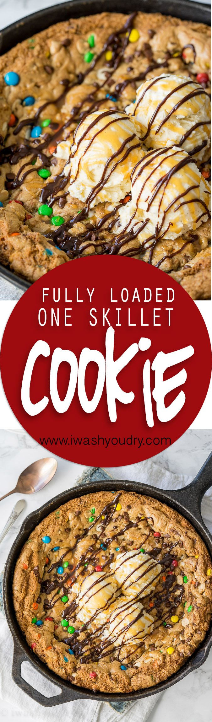 OMG! This One Skillet Fully Loaded Chocolate Chip Cookie recipe is insanely delicious and SUPER EASY to make too! No mixing bowls required for this one!