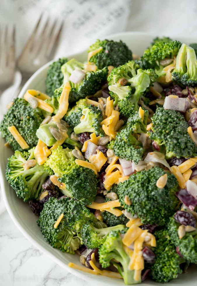 Deli Style Broccoli Cheddar Salad is just like the broccoli salad you can get at the deli, but super simple to make at home!