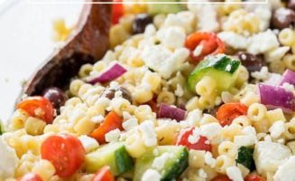 This Greek Pasta Salad is full of fresh veggies and tender pasta with a delicious dressing that just takes a few ingredients!