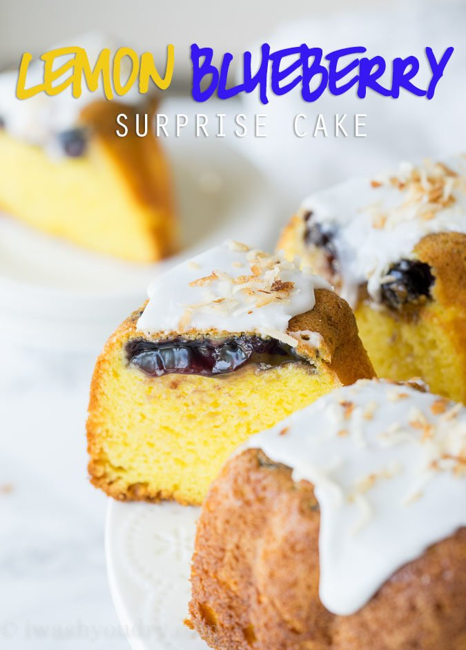 This Lemon Blueberry Surprise Cake is deliciously moist and filled with a surprise blueberry filling! It's so easy to make too!