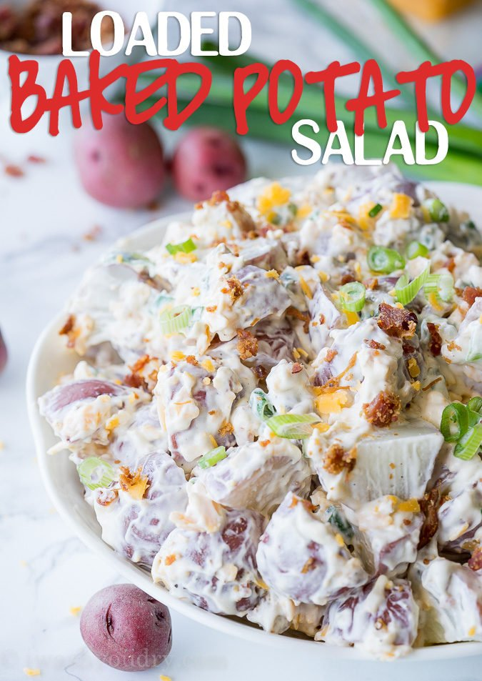 My whole family LOVED this Loaded Baked Potato Salad recipe! Went perfect with our BBQ!