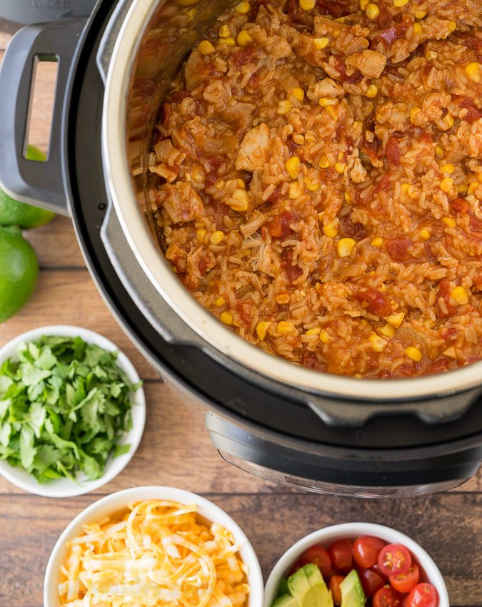 My whole family LOVED this Instant Pot Mexican Chicken Rice! So easy!