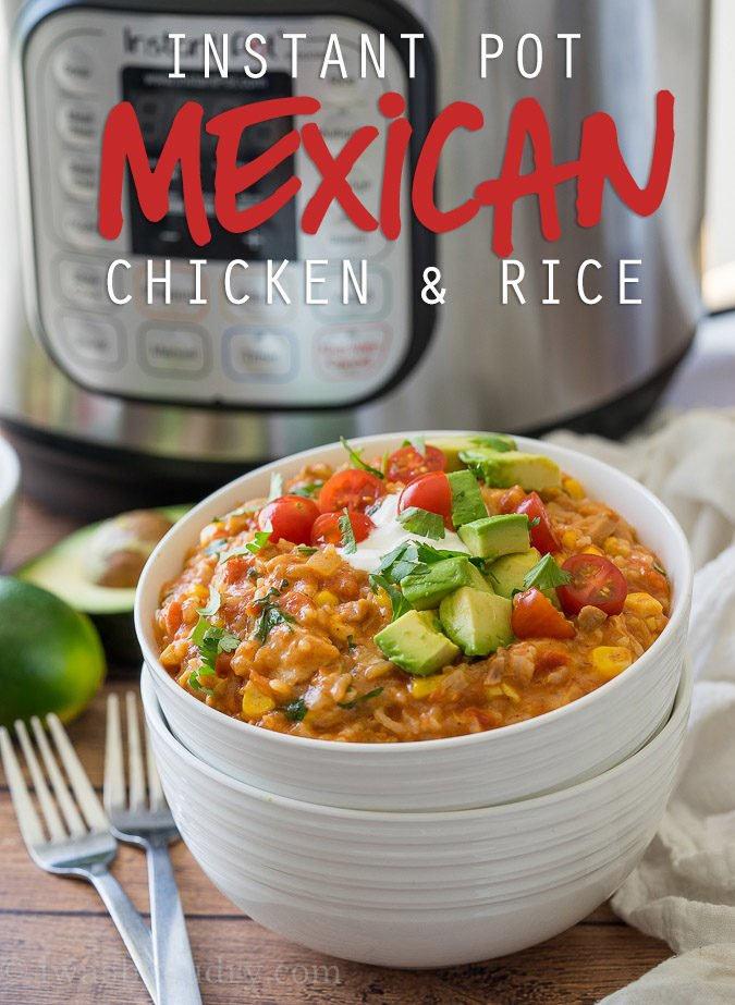 I love this Instant Pot Mexican Chicken Rice casserole! It's so easy - just toss everything in and let it cook for 12 minutes!