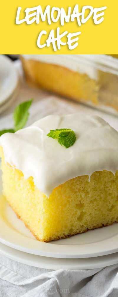 This Super Easy Lemonade Cake Recipe is so delicious! This is the perfect dessert for summer!