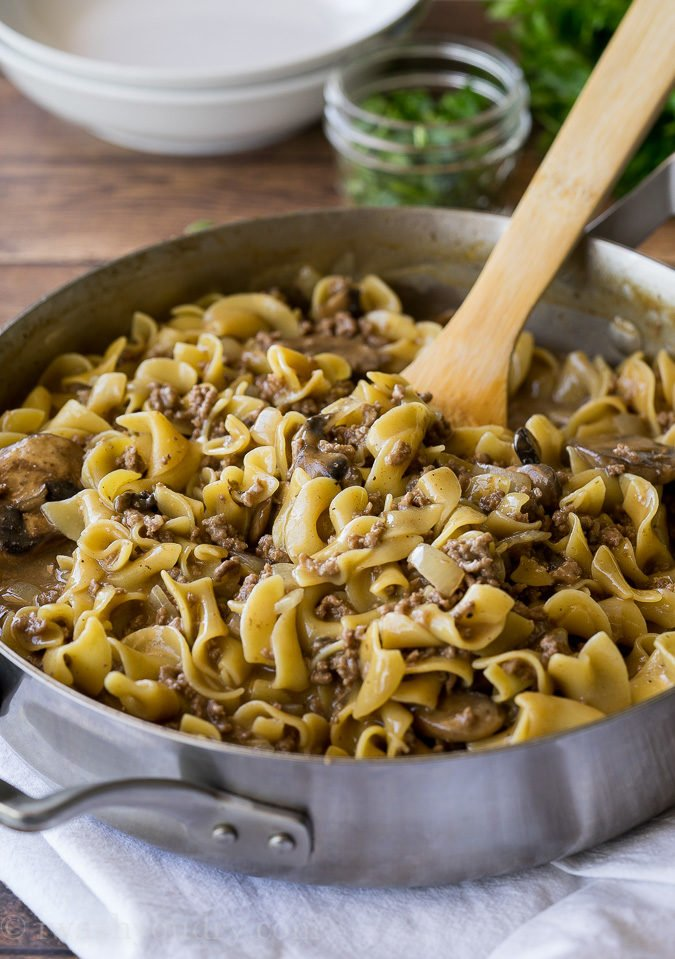 Just before the One Skillet Ground Beef and Stroganoff is finished cooking you add in the special ingredient to make it extra creamy!