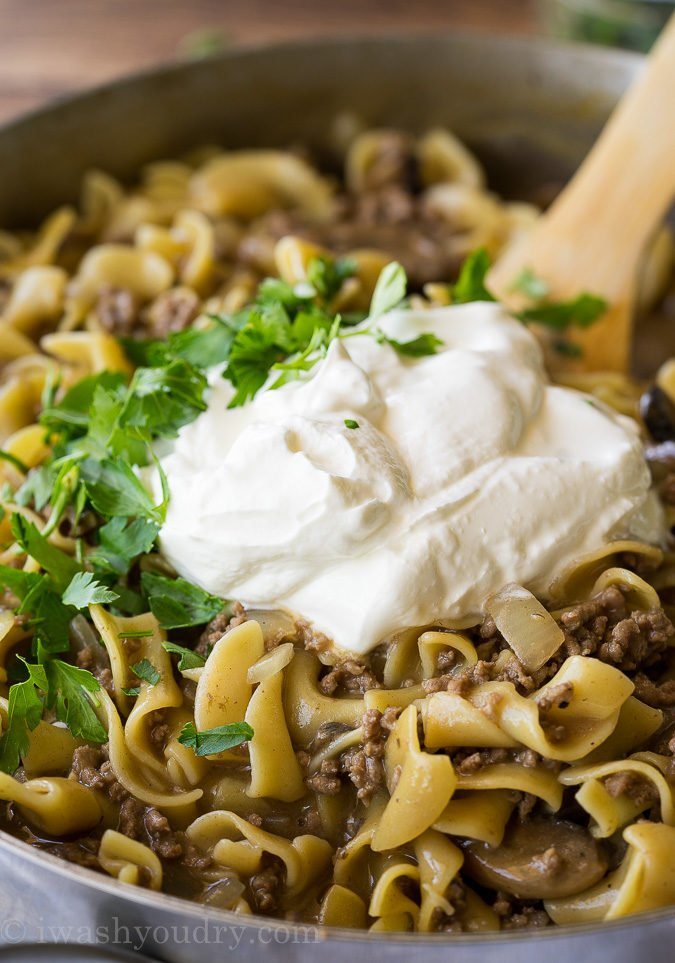 Sour cream is the key ingredient to making this One Skillet Ground Beef Stroganoff extra creamy!