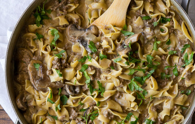 My whole family LOVED this One Skillet Ground Beef Stroganoff! I loved how easy this dinner recipe was and clean up was a breeze!