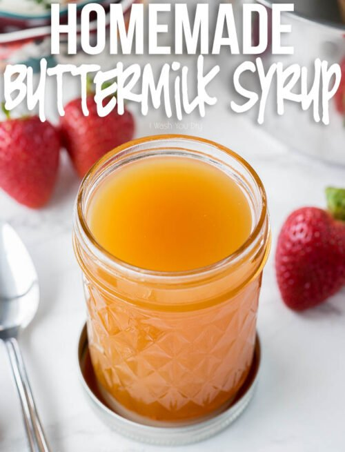 This easy Homemade Buttermilk Syrup is just a few ingredients and tastes amazing over pancakes and ice cream!