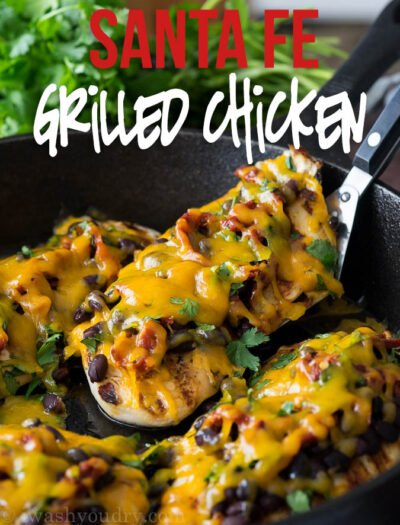 This Zesty Santa Fe Grilled Chicken is loaded with toppings and the chicken is super moist too!