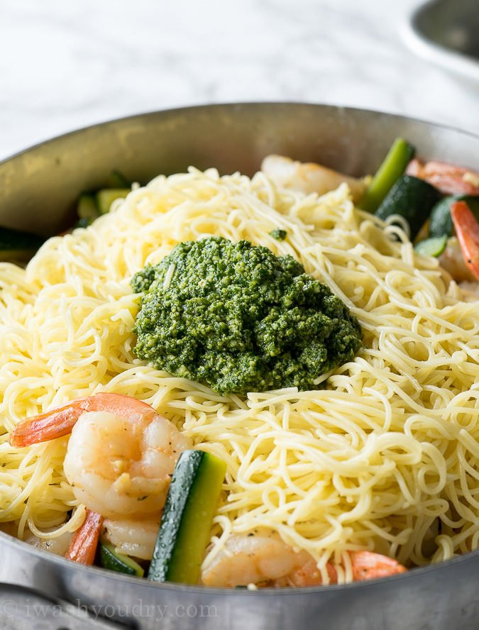 Add a gorgeous amount of fresh Basil Pesto to this simple summer pasta dinner and watch what happens!