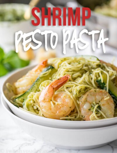 This super easy Shrimp with Pesto Pasta is an extremely flavorful dish that's filled with fresh zucchini, pasta, shrimp and parmesan cheese!