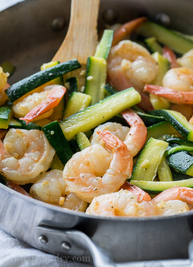 Saute zucchini and shrimp in butter for this easy weeknight dinner recipe!