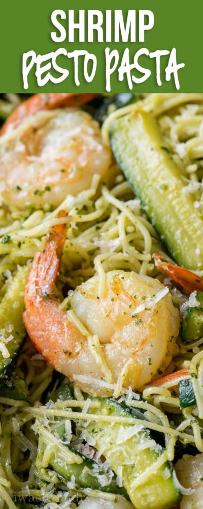 SO EASY! This Shrimp Pesto Pasta is my new favorite easy dinner recipe!