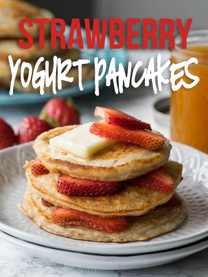 These Strawberry Greek Yogurt Pancakes are so light and fluffy and I love the extra protein from the greek yogurt!