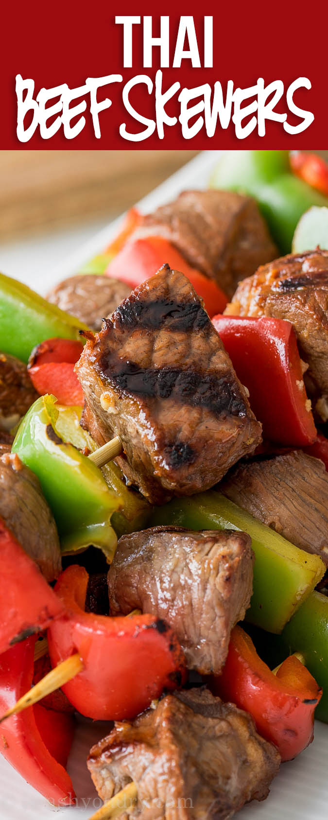 Thai Beef Skewers are tender bites of steak and peppers that are marinated and then grilled to perfection!